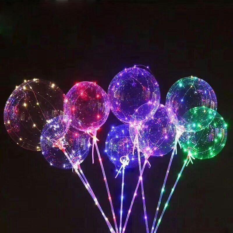 Balon luminos cu LED-uri multicolore, diametru 20 cm, buton on/off, suport tip bat