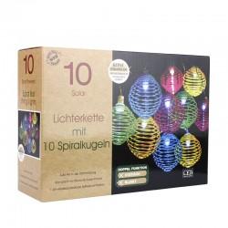 Ghirlanda solara LED, 10 spirale colorate, diametru glob 5.5 cm
