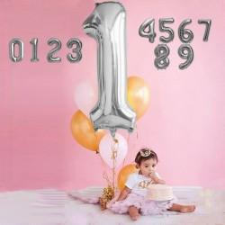 Balon cifra, model gigant, folie, argintiu, 76 cm
