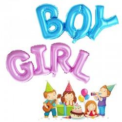 Balon folie color pentru aniversari, figurina mesaj BOY GIRL, 30 cm