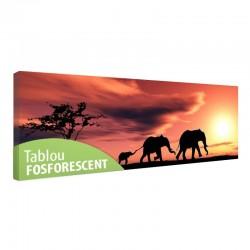 Tablou fosforescent Familie de elefanti, canvas profesional, 60x20 cm