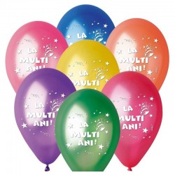 Baloane colorate party, mesaj La multi ani, 30 cm, latex, set 100 bucati