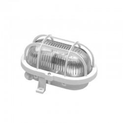 Lampa ovala, exterior, grilaj de plastic, 60W, E 27, alb, BADT
