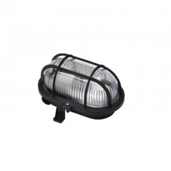 Lampa ovala, exterior, grilaj de plastic, 60W, E 27, negru, BADT