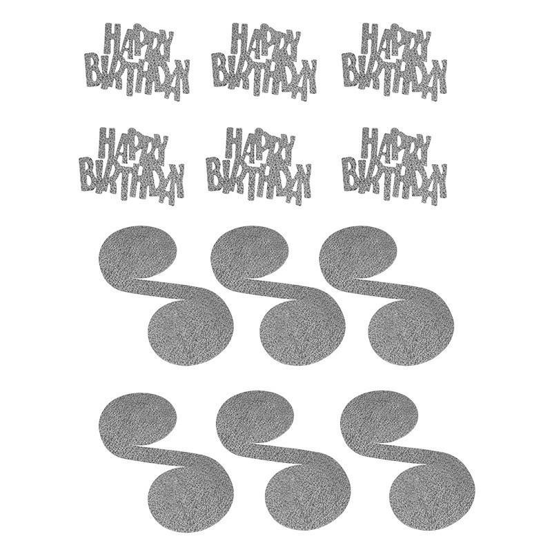 Ghirlanda serpentina Happy Birthday, decor glow, set 6 bucati argintii