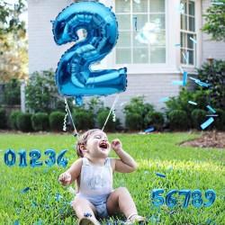 Balon folie pentru aniversari, model cifra mare, 46 cm, albastru