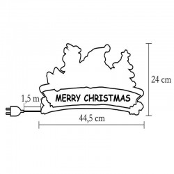 Decoratiune fereastra Merry Christmas, 20 becuri albe, 230V, 24 cm, Home