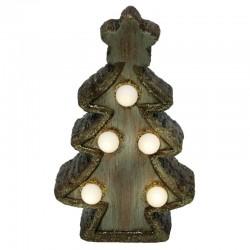 Ornament luminos Brad, LED alb cald, 15 cm, alimentare baterii, interior