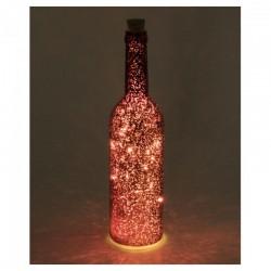 Sticla decorativa cu ghirlanda LED, 30 cm, alimentare baterii, comutator, Home