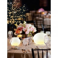 Glob decorativ LED, diametru 12 cm, lumina alb calda, alimentare baterii
