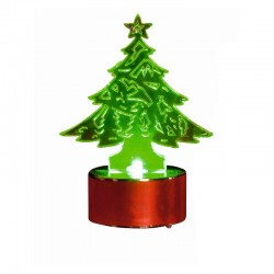 Decor candela in forma de Bradut, iluminat LED verde, inaltime 8.5 cm