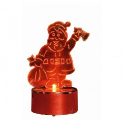 Decor candela in forma de Mos Craciun, LED rosu, inaltime 8.5 cm