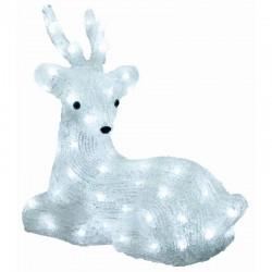 Figurina decorativa Ren din acril, 64 LED-uri alb rece, IP44, 36x34 cm
