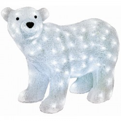 Figurina Craciun Urs Polar, acril, 120 LED-uri alb rece, IP44, 58x42 cm