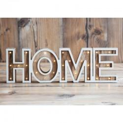 Panou luminos decorativ HOME, 28 LED-uri, 11 cm, intrerupator, lemn