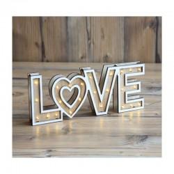 Decoratiune luminoasa LOVE, LED alb cald, 3V, 10 cm, lemn, de interior