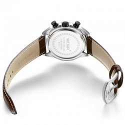 Ceas barbati Quartz, cronograf, tahimetru, indicatoare luminoase, piele ecologica