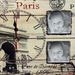Ceas Quartz cu 3 rame foto, perete sau birou, design vintage, dreptunghiular