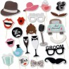 Propsuri Photo Booth Just Married, 20 piese, inaltime 26 cm, suport tip bat