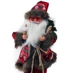 Figurina muzicala Mos Craciun cu lumanare si sac cadouri, 40 cm