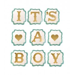 Ghirlanda decorativa party It's a Boy, 9 piese, litere aurii, albastru