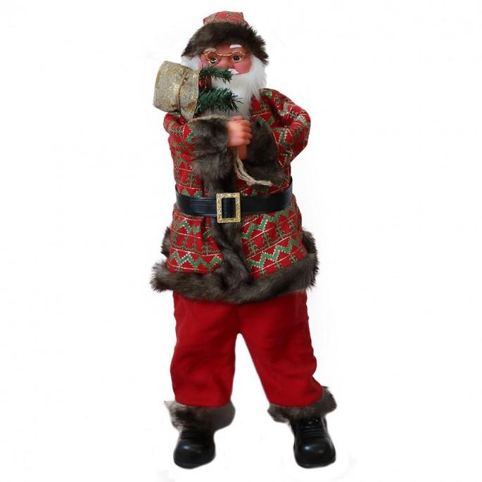 Mos Craciun decorativ, figurina care canta si danseaza, cu sac cadouri, 80 cm
