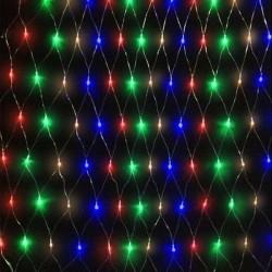 Instalatie tip plasa de lumini, 160 beculete multicolore, decor Craciun