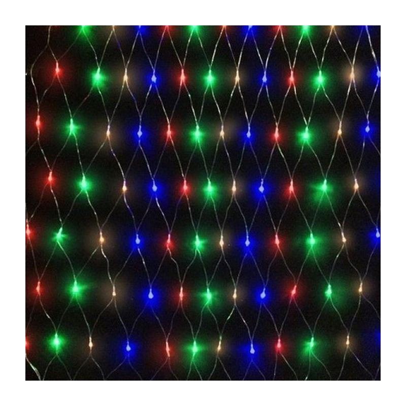 Instalatie decorativa tip plasa de lumini, 300 beculete, lumina multicolora