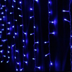 Perdea de lumini pentru Craciun, 140 beculete, lumina albastra, lungime 3 m