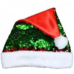 Caciula Mos Craciun, paiete reversibile rosii si verzi, material textil