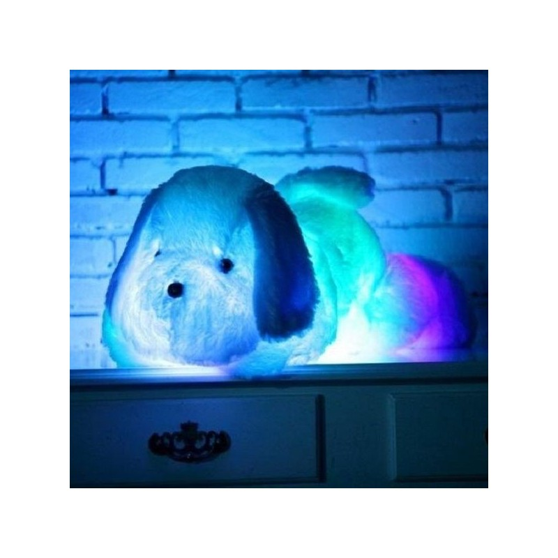 Jucarie copii Catel de plus, LED multicolor, lumina ambientala glow, 50 cm