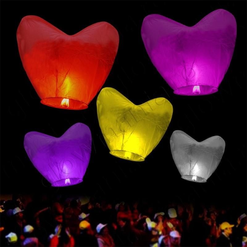 Lampioane zburatoare SKY lanterns colorate forma inima