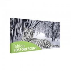 Tablou fosforescent Tigru Alb, canvas, 40x20 cm