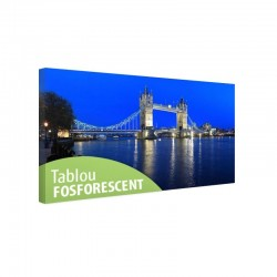 Tablou canvas fosforescent Bridge London, dimensiuni 40x20 cm