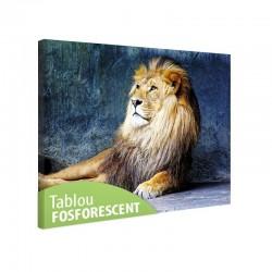 Tablou panza canvas fosforescent Regele Leu, dimensiuni 120x80 cm