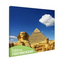 Tablou fosforescent Piramida lui Keops si Sfinxul, 30x30 cm, canvas