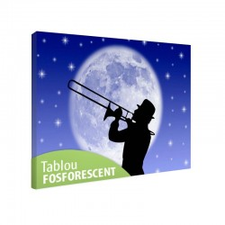 Tablou fosforescent canvas Trompetist, dimensiune 30x20 cm