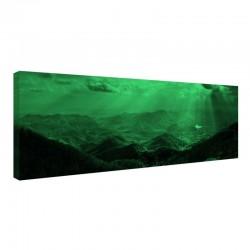 Tablou fosforescent Muntii Carpati, imprimat canvas, lumineaza verde