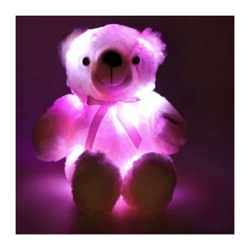 Lumina de veghe Ursulet din plus, LED-uri multicolore, alimentare baterii