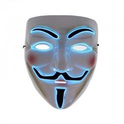 Masca Anonymous, fir electroluminescent neon, 3 moduri iluminare, unisex