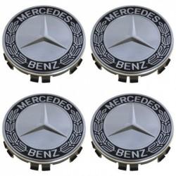Set 4 capace janta aliaj Mercedes Benz, 68 mm, argintiu cu negru