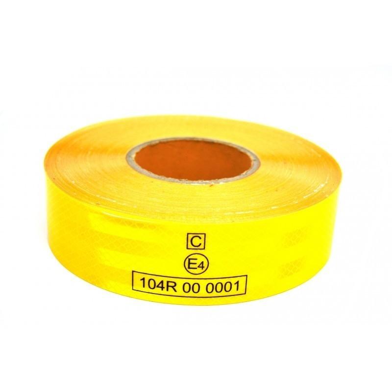 Banda reflectorizanta adeziva E4, suprafete flexibile, capacitate intindere, galbena
