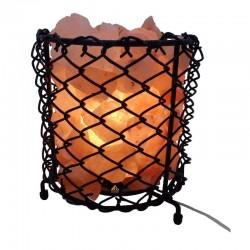 Lampa din cristale de sare, E14, bec 15W, alimentare retea, cos metalic