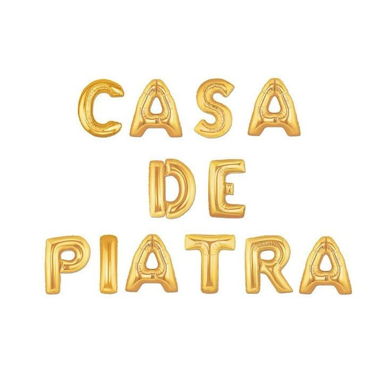 Balon folie Casa de Piatra, 41 cm, 12 piese, auriu metalizat