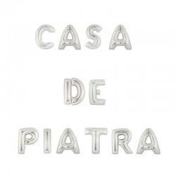 Balon folie,text Casa de Piatra, 12 piese, 41 cm, argintiu metalizat