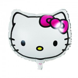 Balon folie cap Hello Kitty, dimensiuni 45x45 cm, aer si heliu, fetite