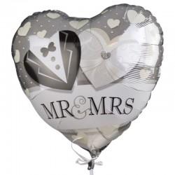 Balon folie inima inscriptie MR&MRS, 40x44 cm, casatorie, aer sau heliu