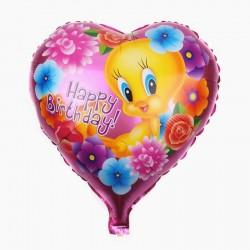 Balon folie inima Twetty Happy Birthday, roz, 45x45 cm, aer sau heliu