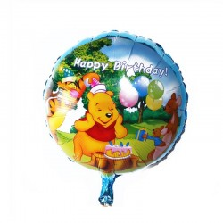 Balon folie rotund Winnie Happy Birthday, diametru 45 cm, aer sau heliu