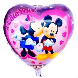 Balon folie inima Mikey si Minnie, 45x45 cm, love, aer sau heliu